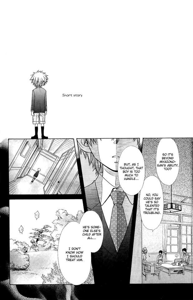 The short story starts off with child versions of Takumi & Miyazono.It appears to be a flashback of how Takumi had always outsmarted the teachers and how he ...