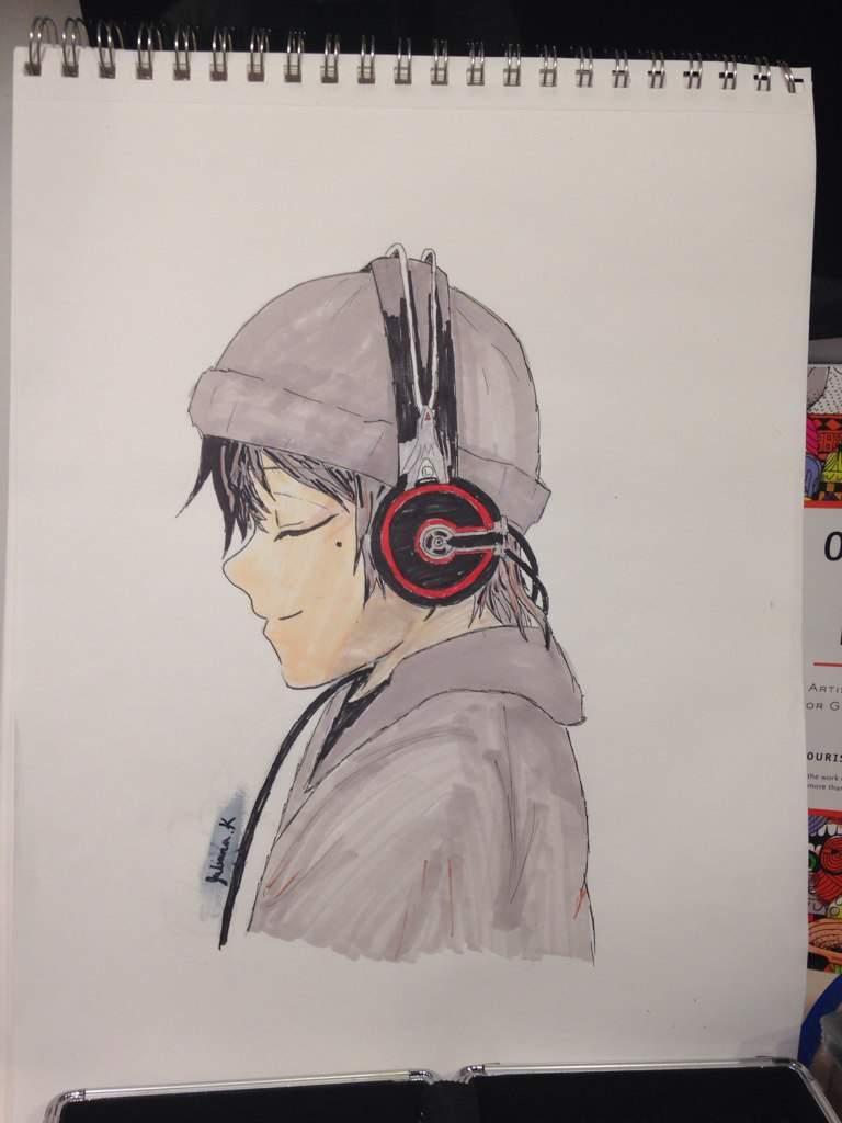 Guy With Headphones Drawing Anime Amino