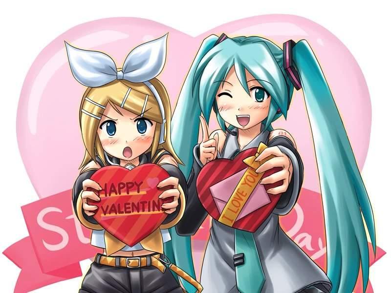 Валентинки открытки аниме